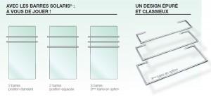 SOLARIS barre chromée pour séche-serviettes L450